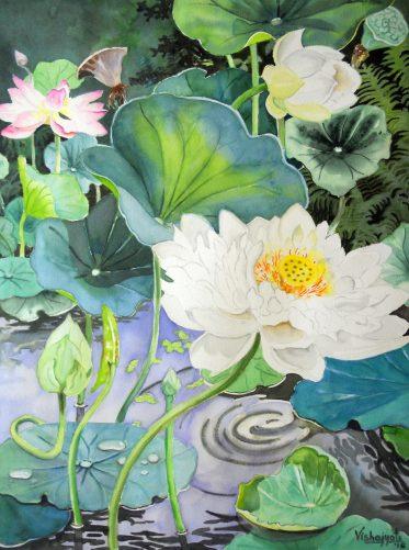 Multipetaled White Lotus Pond