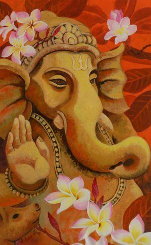 Ganesh with Plumerias