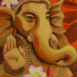 Ganesh with Plumerias