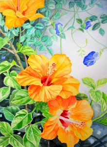 Yellow Hibiscus and Blue Clitoria II